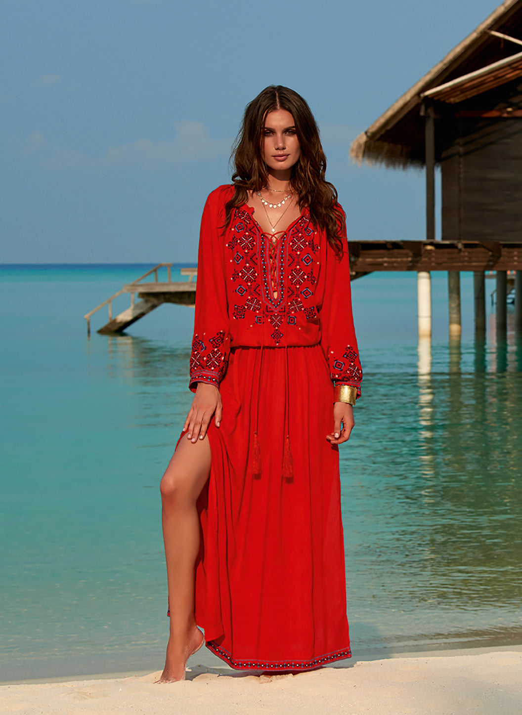 Sienna Red Embroidered 3/4 Sleeve Maxi Dress