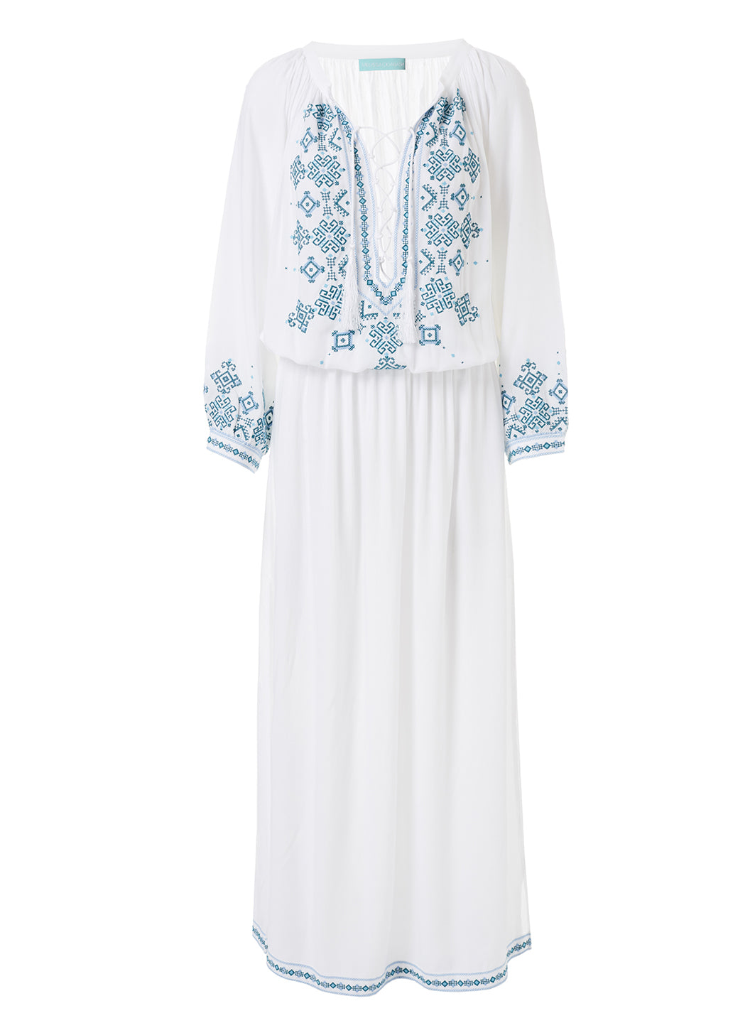 Sienna White/Mint Embroidered 3/4 Sleeve Maxi Dress  - Melissa Odabash Dresses & Kaftans