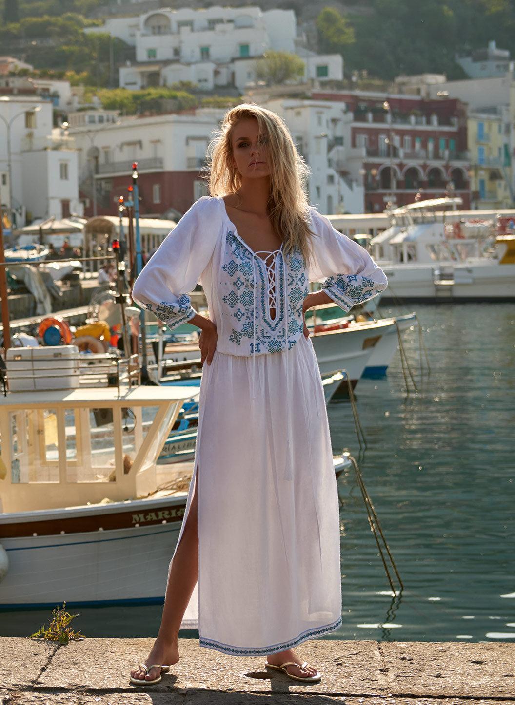 Sienna White/Mint Embroidered 3/4 Sleeve Maxi Dress - Melissa Odabash Beachwear