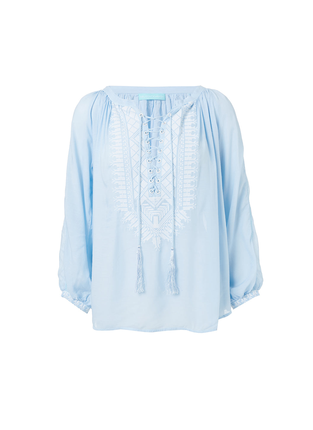 Simona Blue Lace-Up Embroidered Blouse - Melissa Odabash Tops & Bottoms
