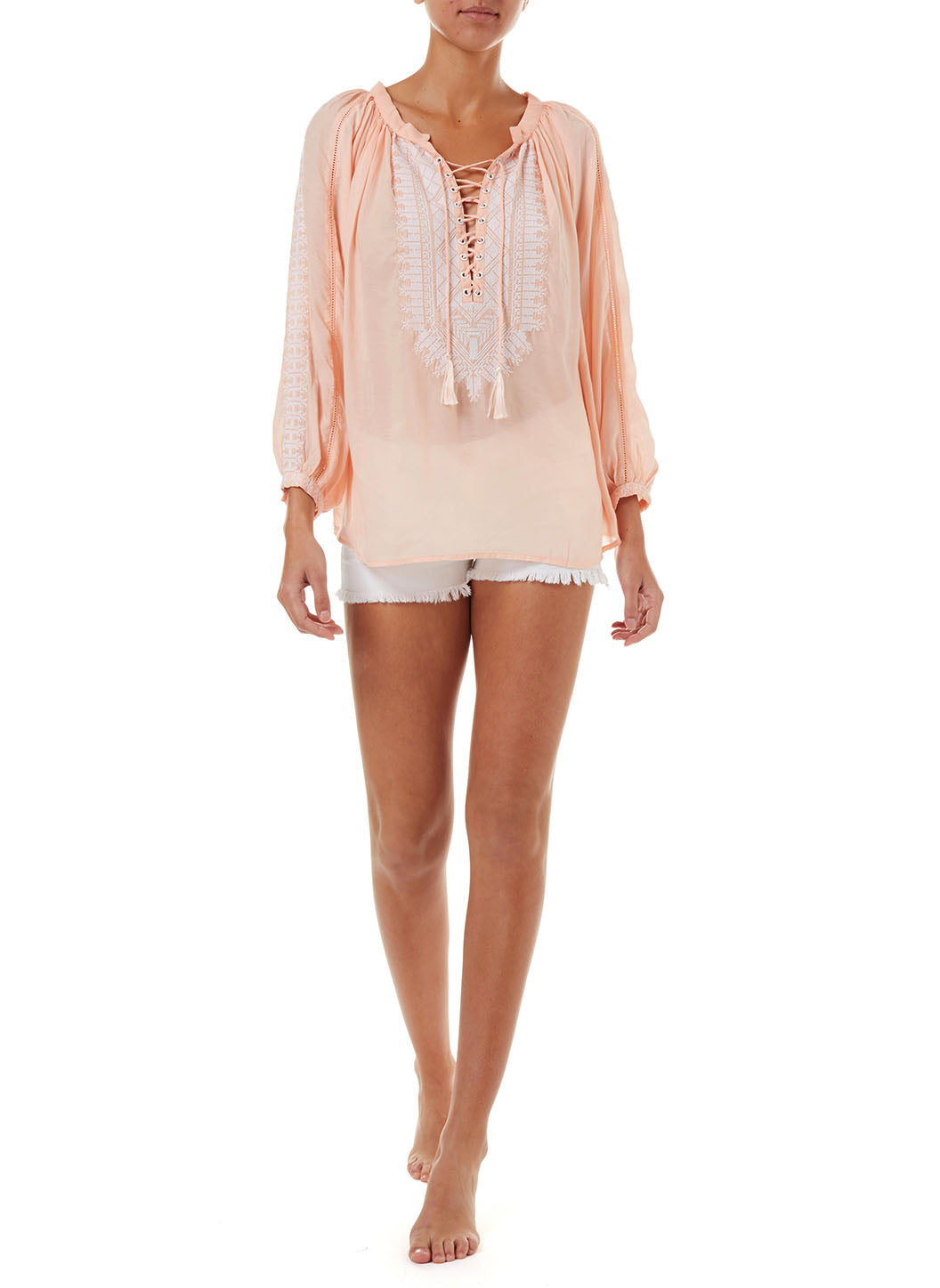 Simona Peach Lace-Up Embroidered Blouse