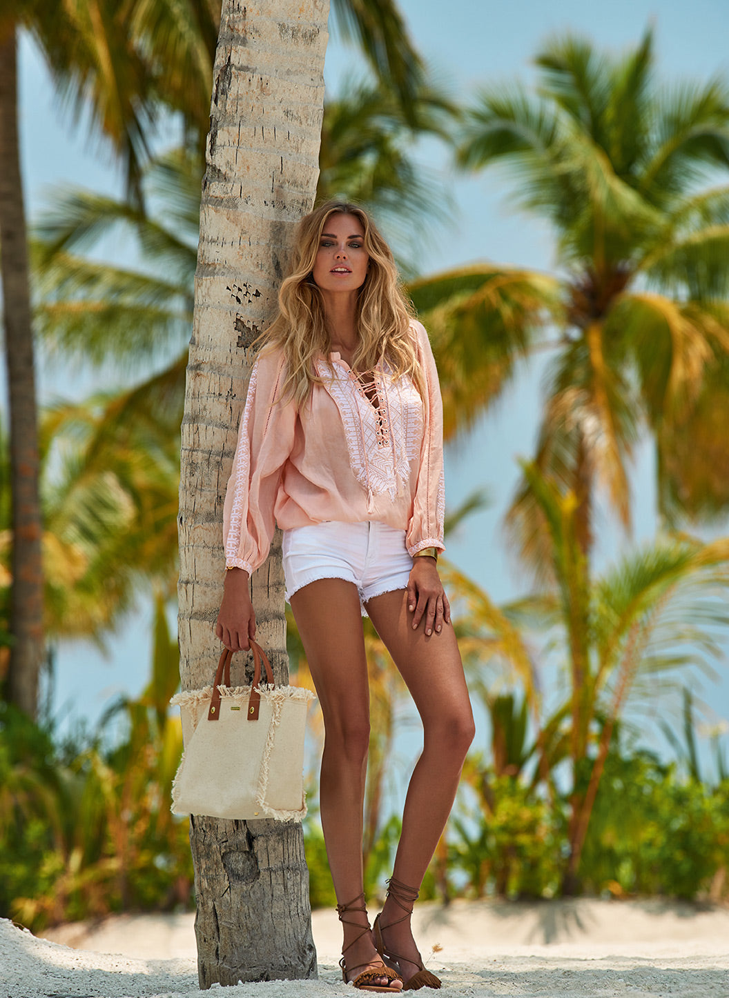 Simona Peach Lace-Up Embroidered Blouse - Melissa Odabash Tops & Bottoms