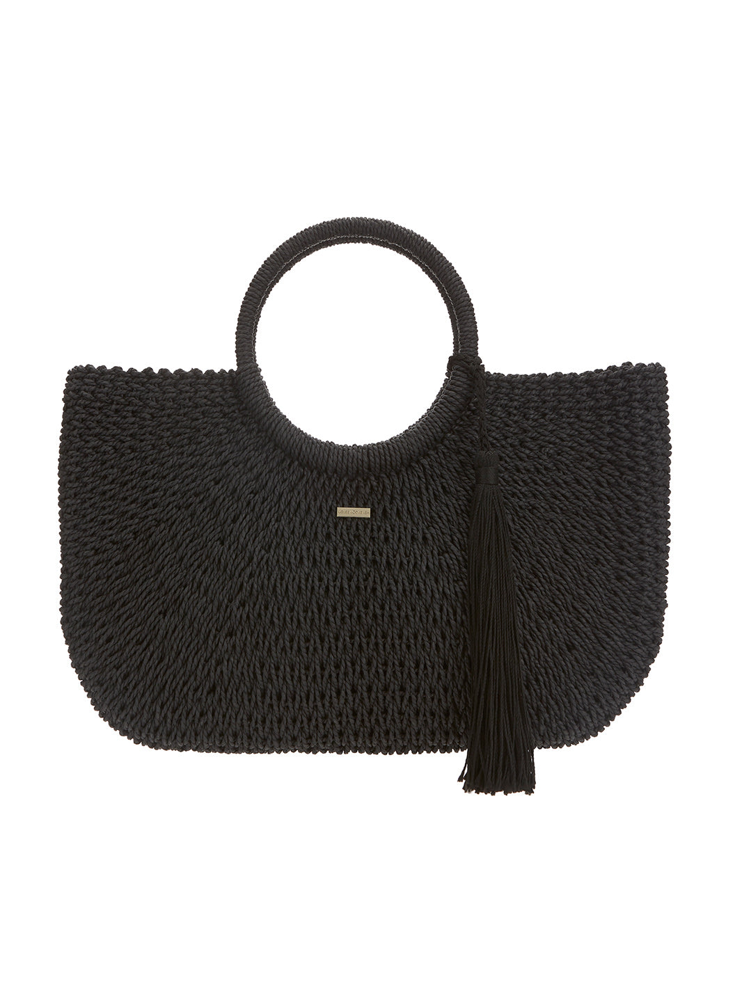 Sorrento Woven Basket Tassel Bag Black