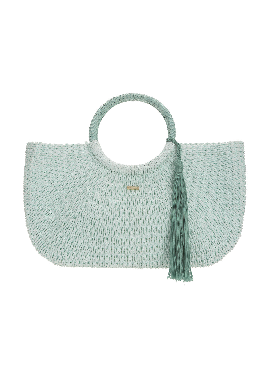 Sorrento Woven Basket Tassle Bag Mint