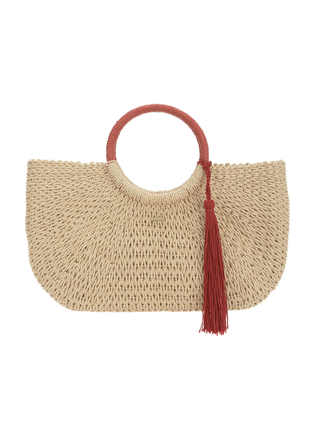 Sorrento Woven Basket Tassle Bag Natural Cinnamon
