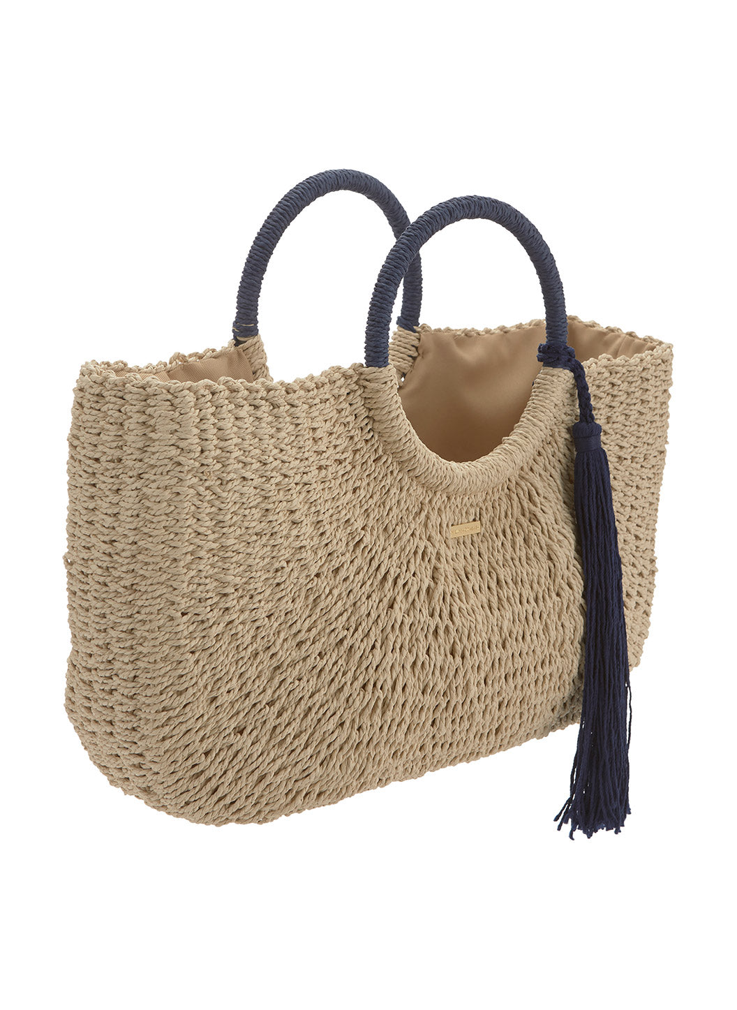 Sorrento Woven Basket Tassle Bag Natural Navy - Melissa Odabash Bags