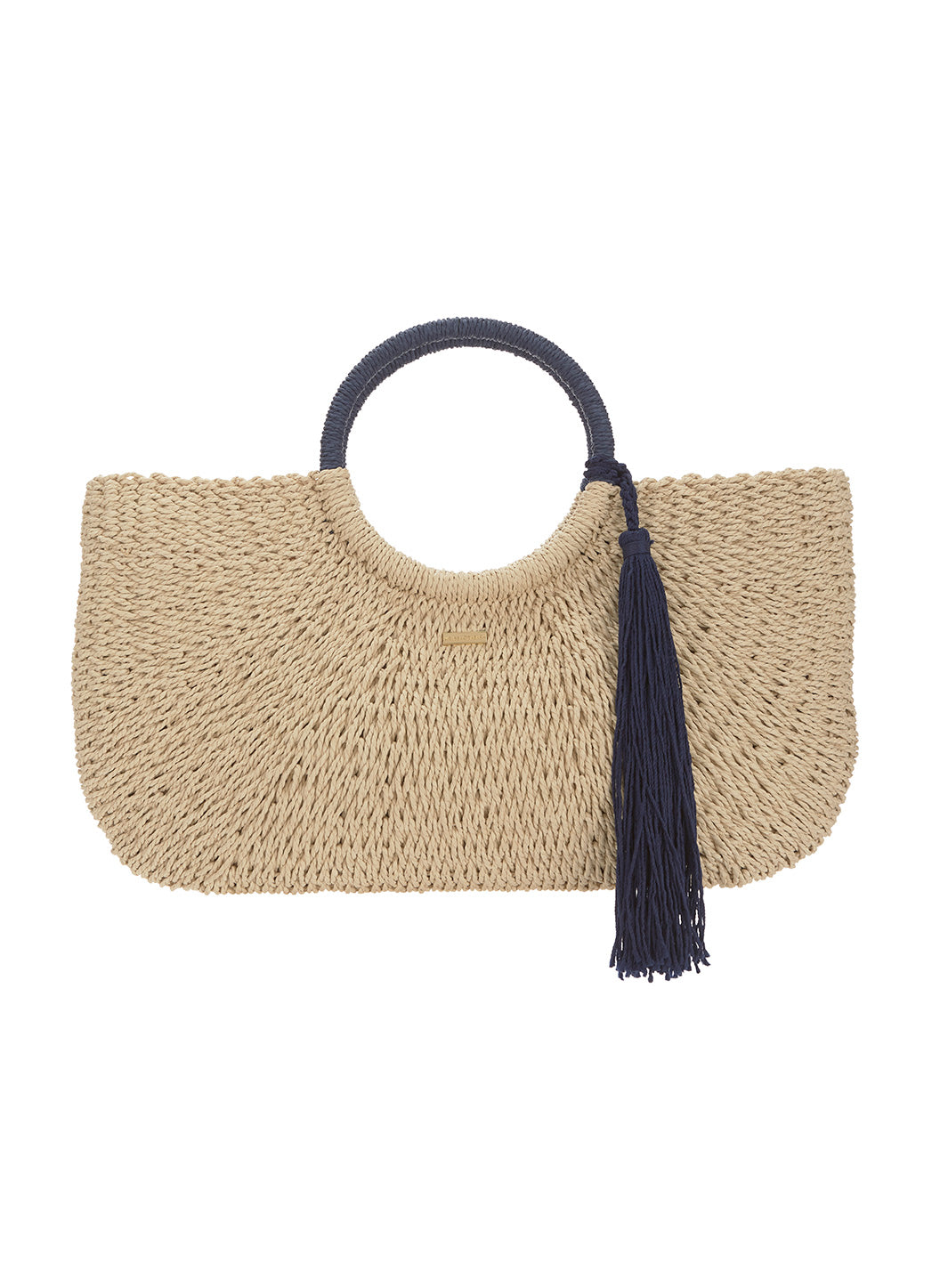 Sorrento Woven Basket Tassel Bag Natural Navy