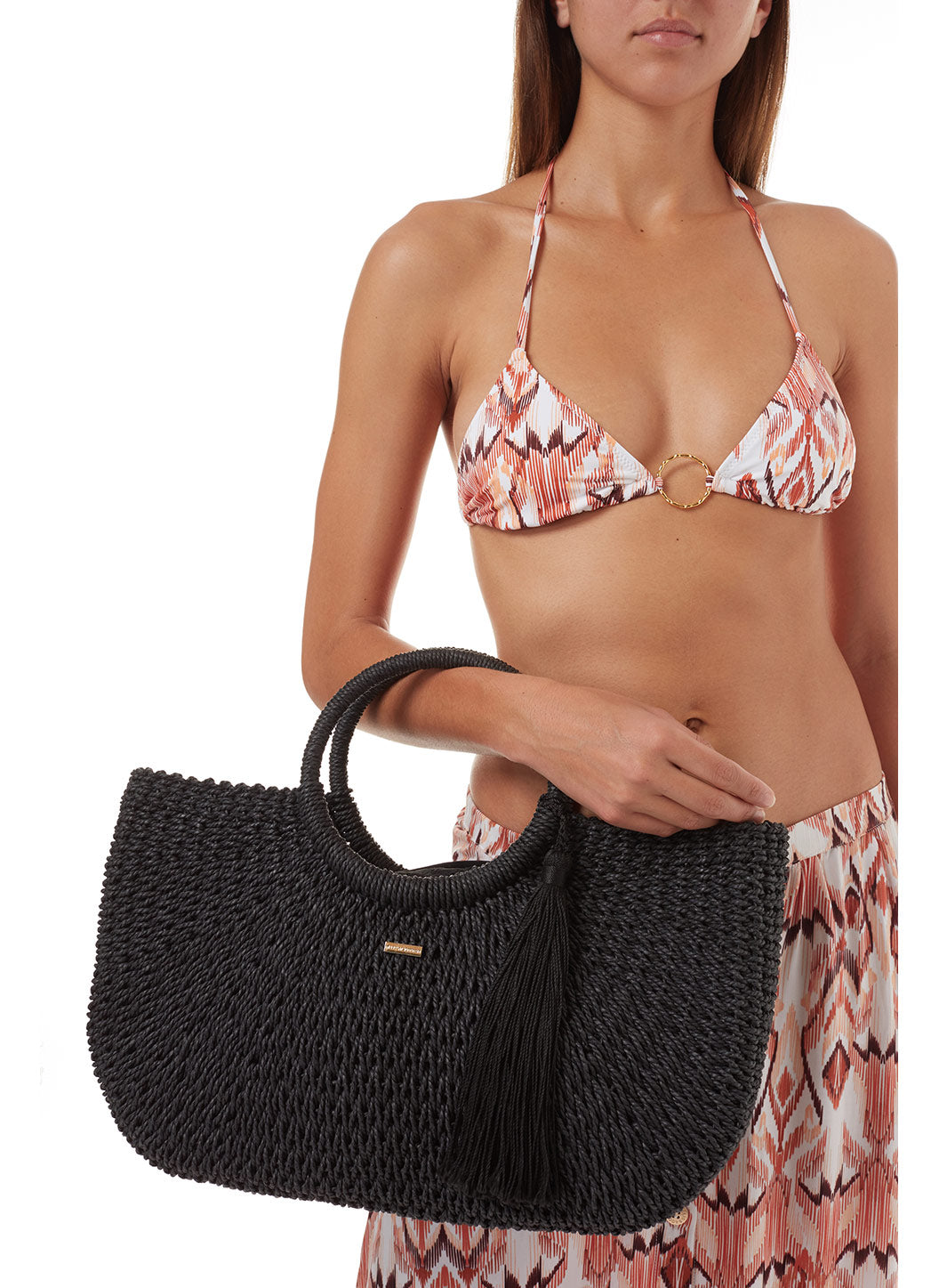 Sorrento Woven Basket Tassle Bag Black - Melissa Odabash Bags