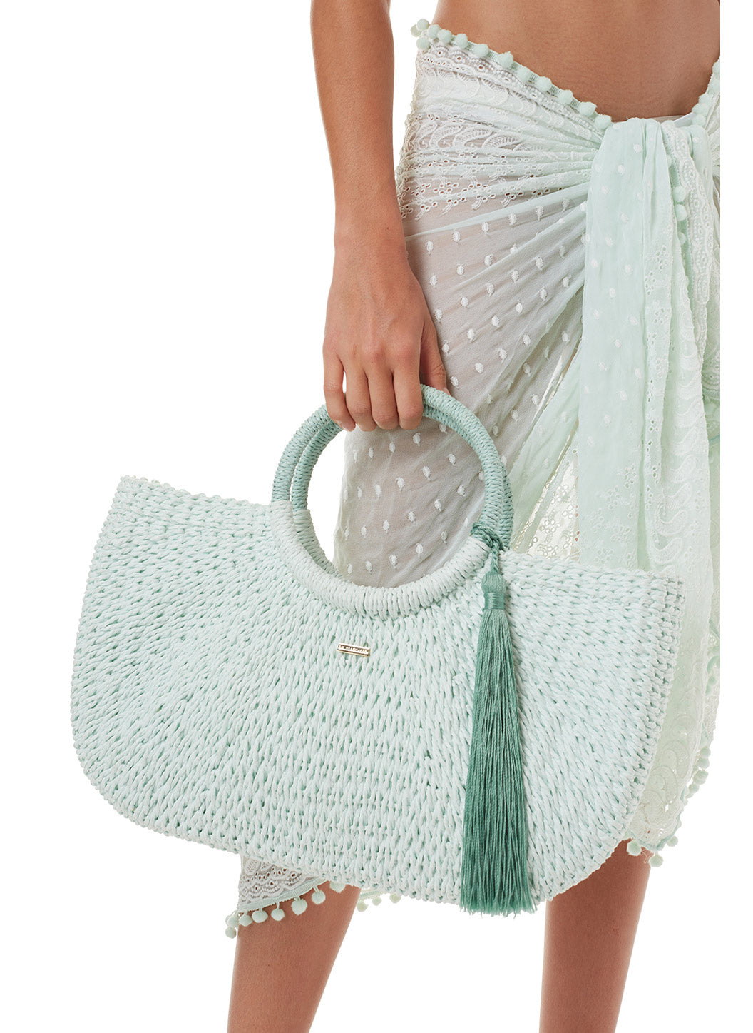 Sorrento Woven Basket Tassel Bag Mint