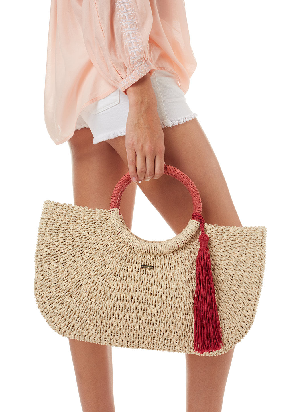 Melissa Odabash Sorrento Woven Basket Tassle Bag Natural Cinnamon