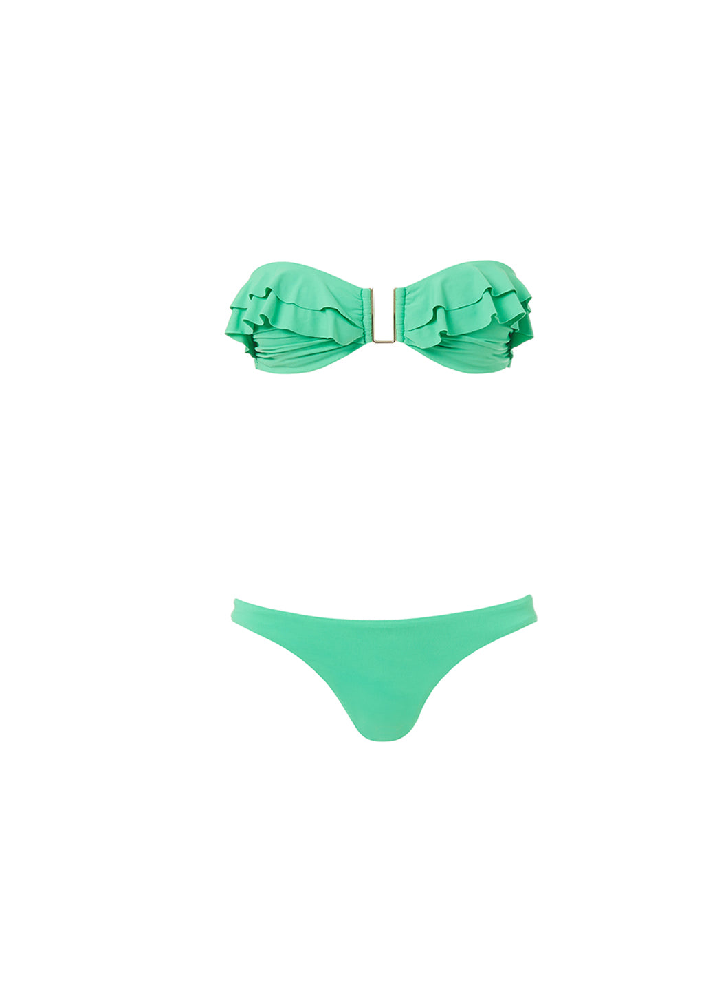 St Kitts Green Bandeau U-Trim Frill Bikini