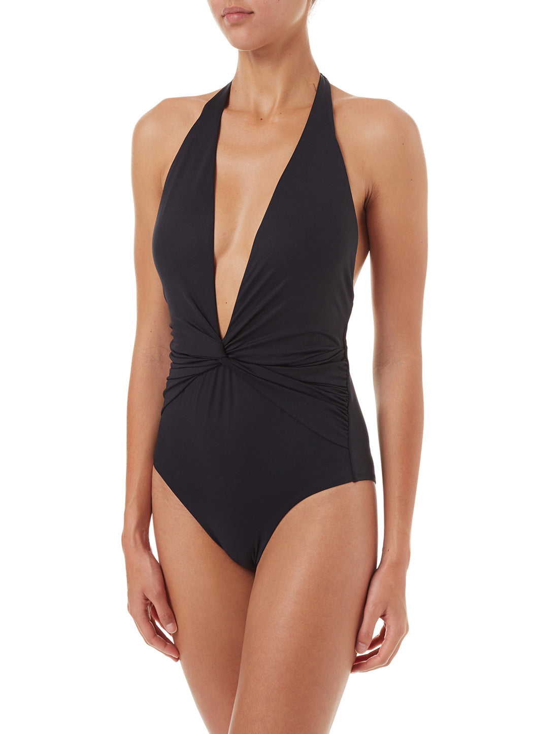 Tahiti Black Halterneck Plunge Ruched Swimsuit