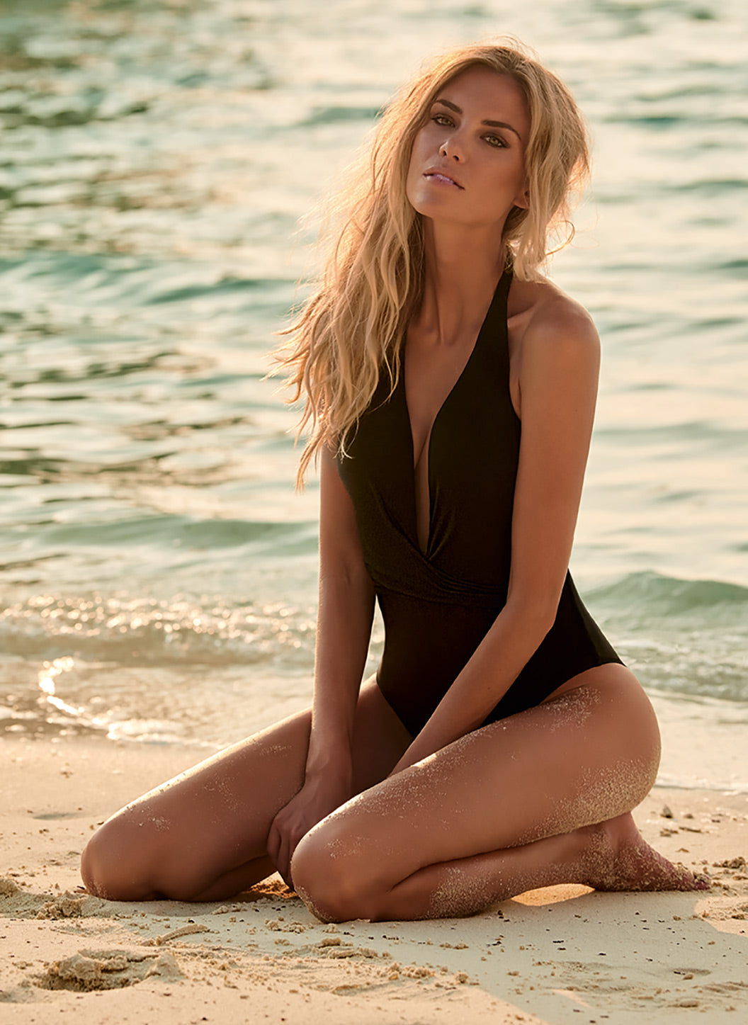 Tahiti Black Halterneck Plunge Ruched Swimsuit - Melissa Odabash One Piece