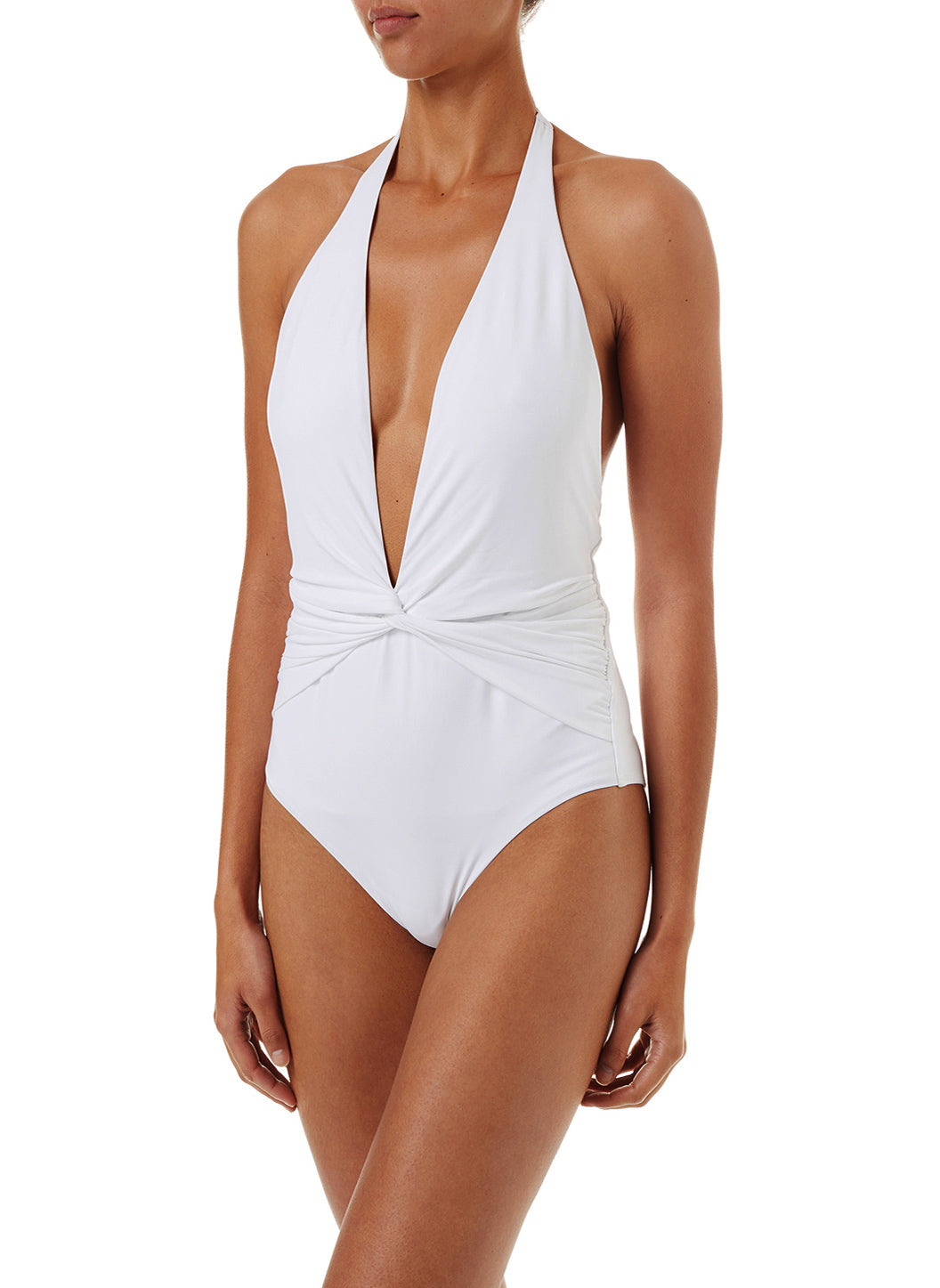Tahiti White Halterneck Plunge Ruched Swimsuit