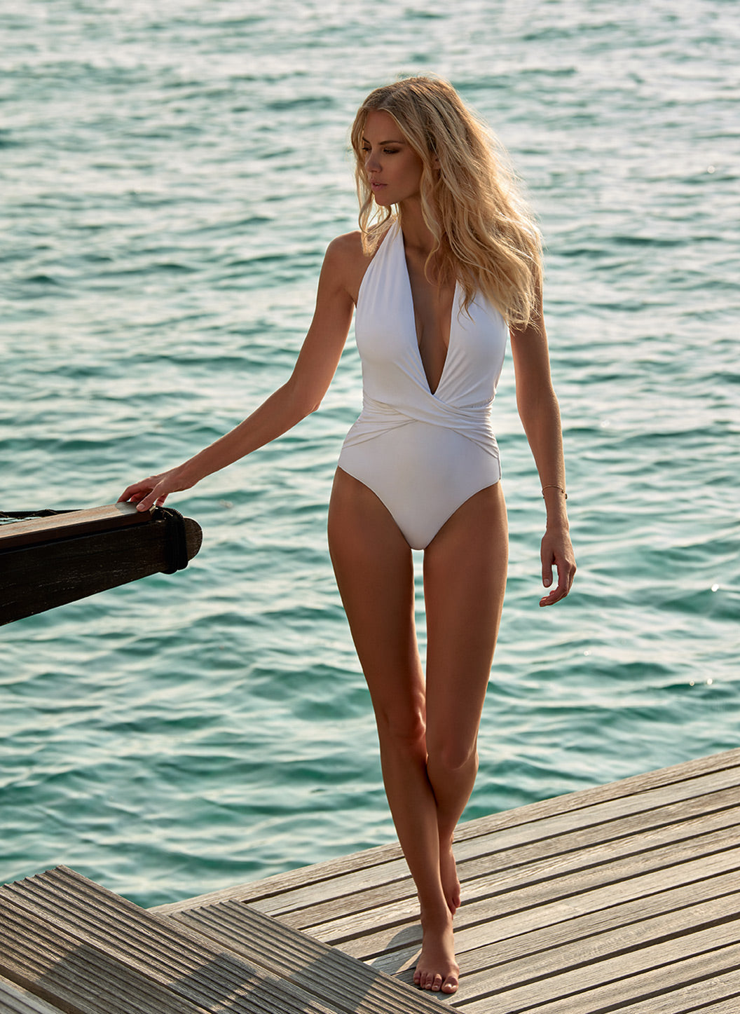 Tahiti White Halterneck Plunge Ruched Swimsuit - Melissa Odabash One Piece