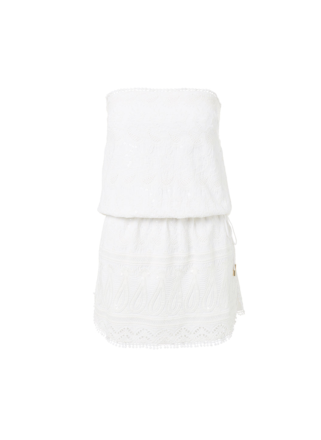 Tia White Bandeau Embroidered Short Beach Dress