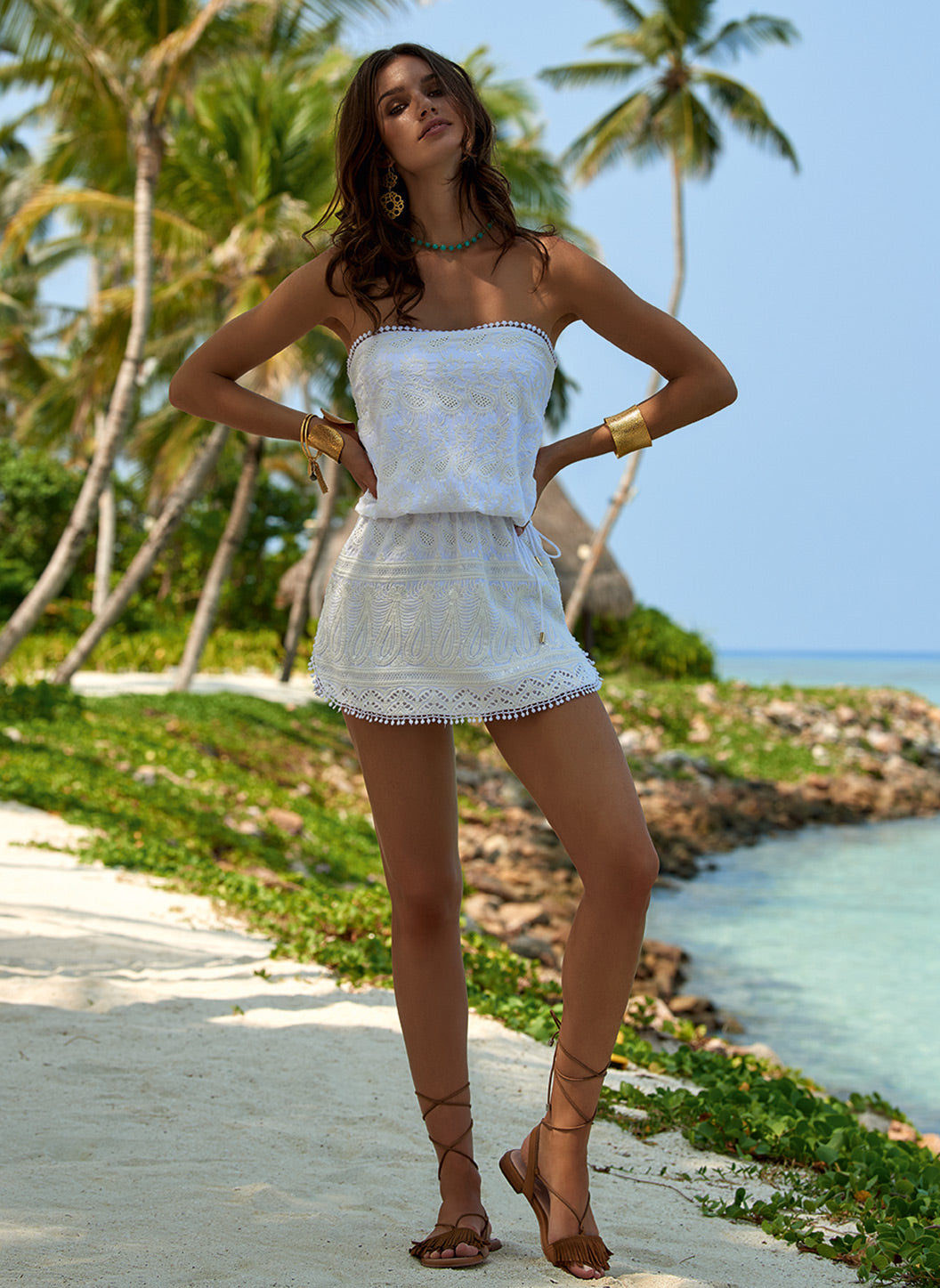 Tia White Bandeau Embroidered Short Beach Dress - Melissa Odabash Beachwear