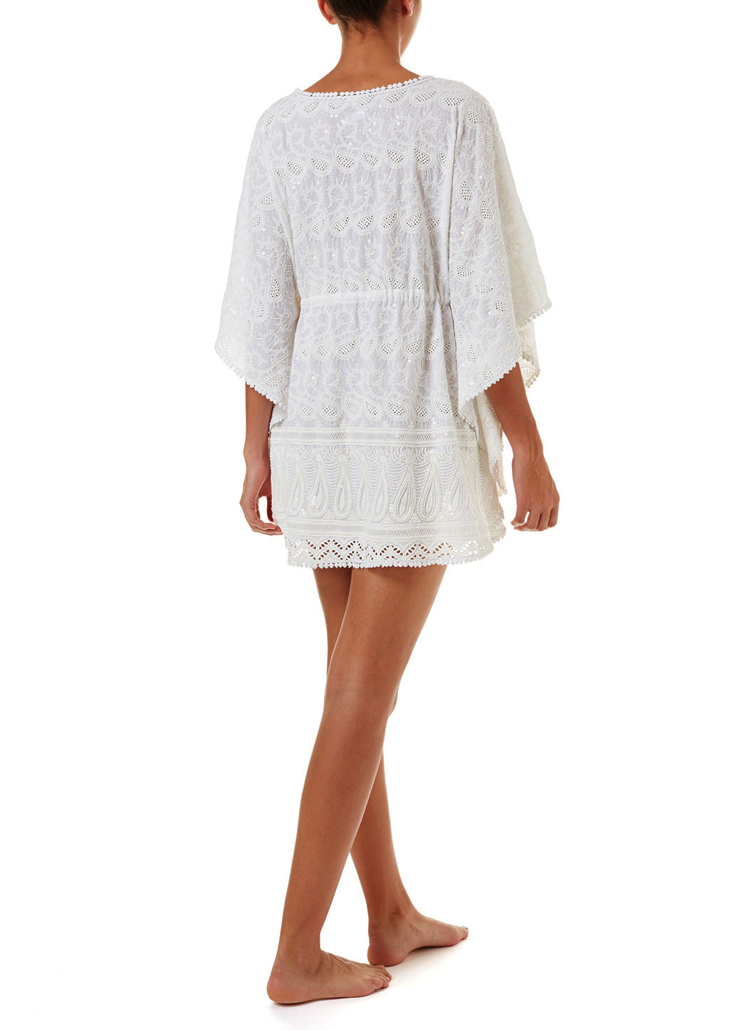 Trixie White Textured V-Neck Short Kaftan