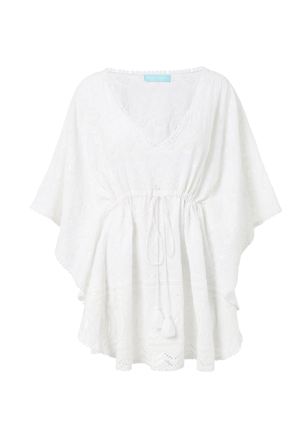 Trixie White Textured V-Neck Short Kaftan - Melissa Odabash Beachwear