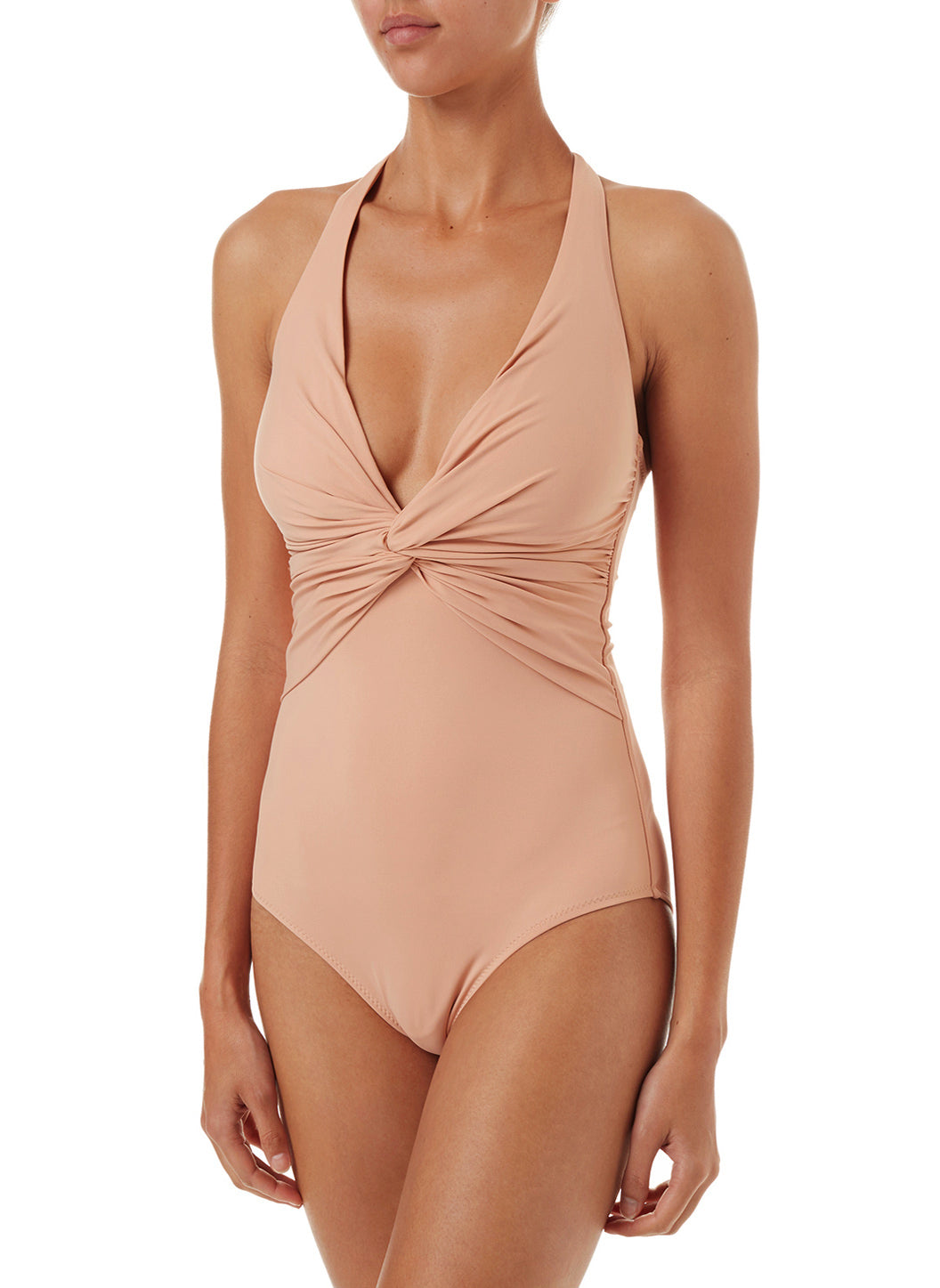 Zanzibar Tan Halterneck Ruched Knot Swimsuit - Melissa Odabash One Piece