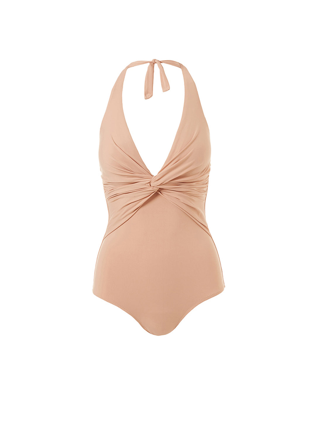 Zanzibar Tan Halterneck Ruched Knot Swimsuit - Melissa Odabash Brown Swimsuits