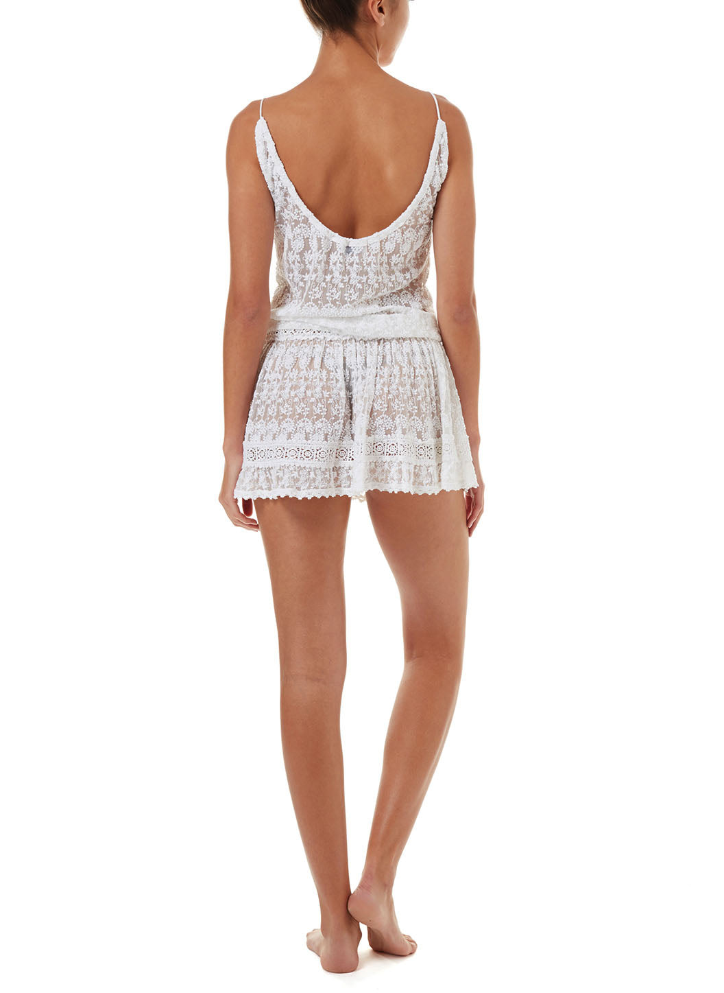 Zoe White Embroidered Short Over The Shoulder Beach Dress