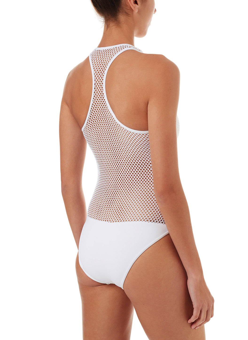 Zuma White Sports Zip-Up Racerback Swimsuit - Melissa Odabash White Swimsuits