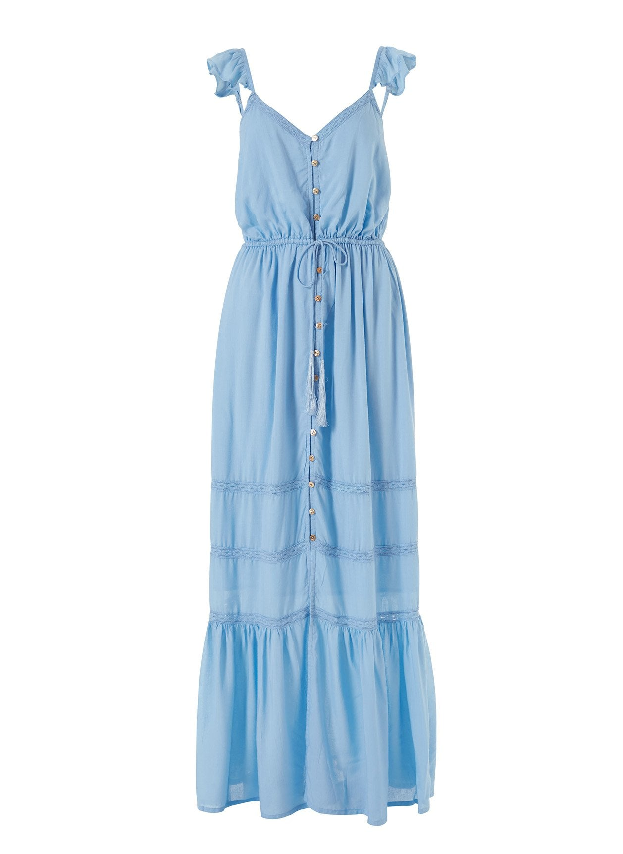 Alanna Cornflower Frill Over The Shoulder Maxi Dress 2020