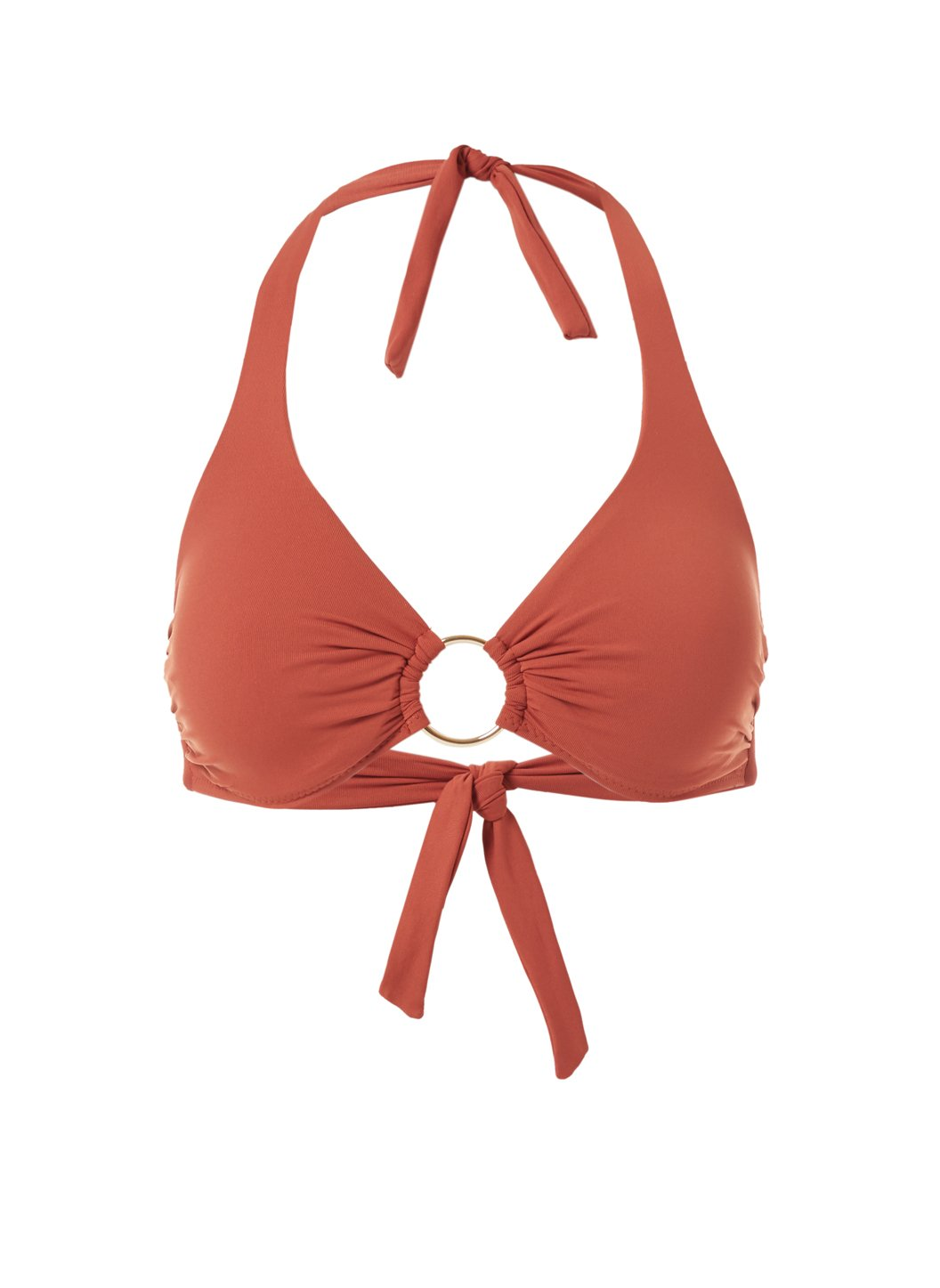 Brussels Cinnamon Halterneck Ring Supportive Bikini Top