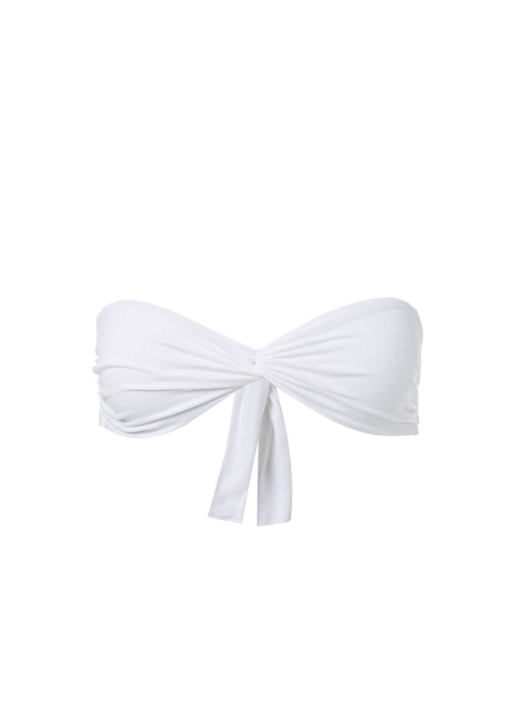 Lyon White High Waisted Bandeau Bikini Top