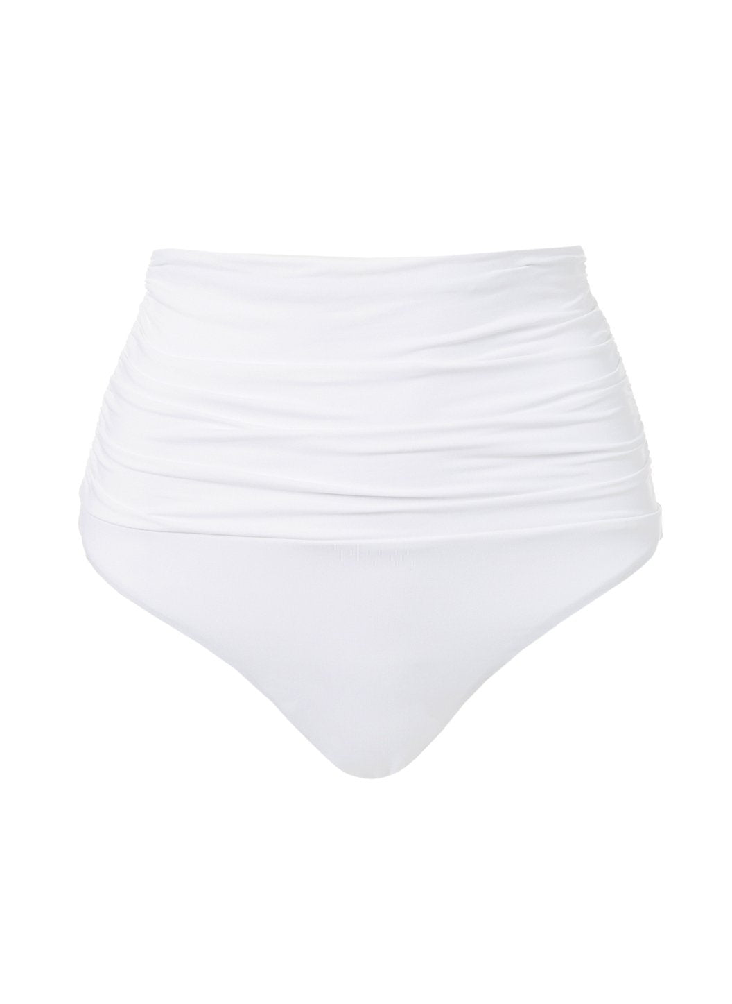 Lyon White High Waisted Ruched Bikini Bottom