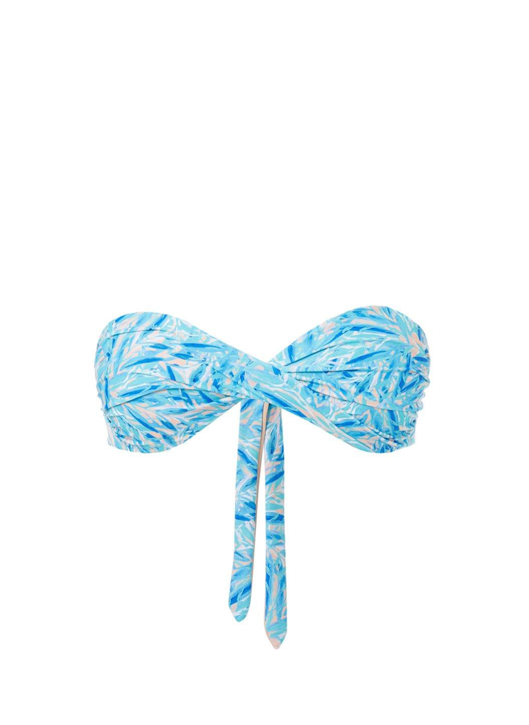 Martinique Blue Leaf Bandeau Padded Twist Bikini Top