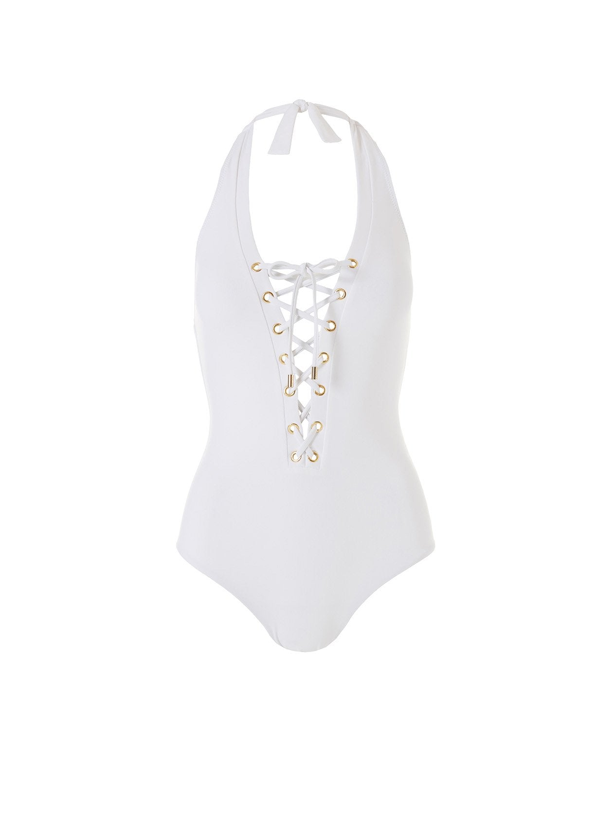 Puerto Rico White Lace Up Halterneck One Piece 2020