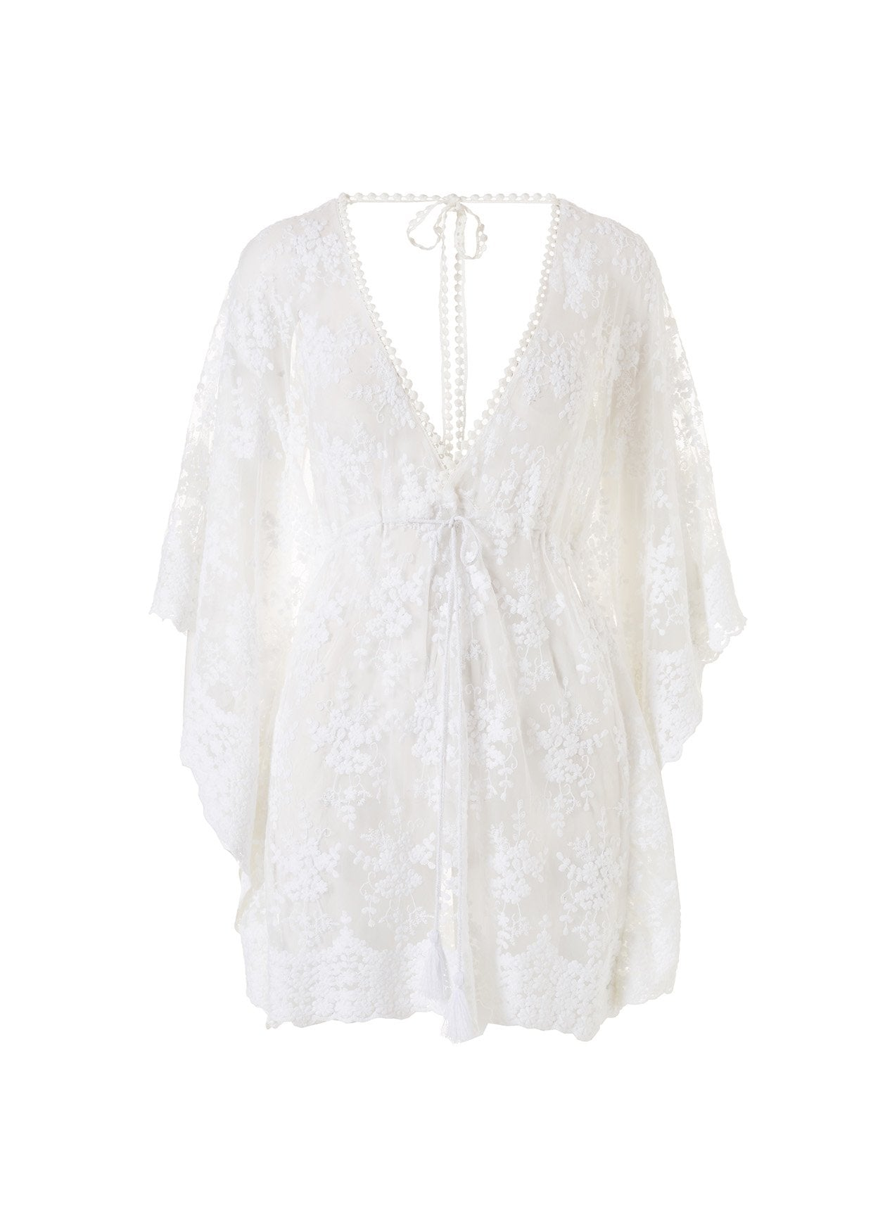Amara White Lace Open Back Short Kaftan 2020