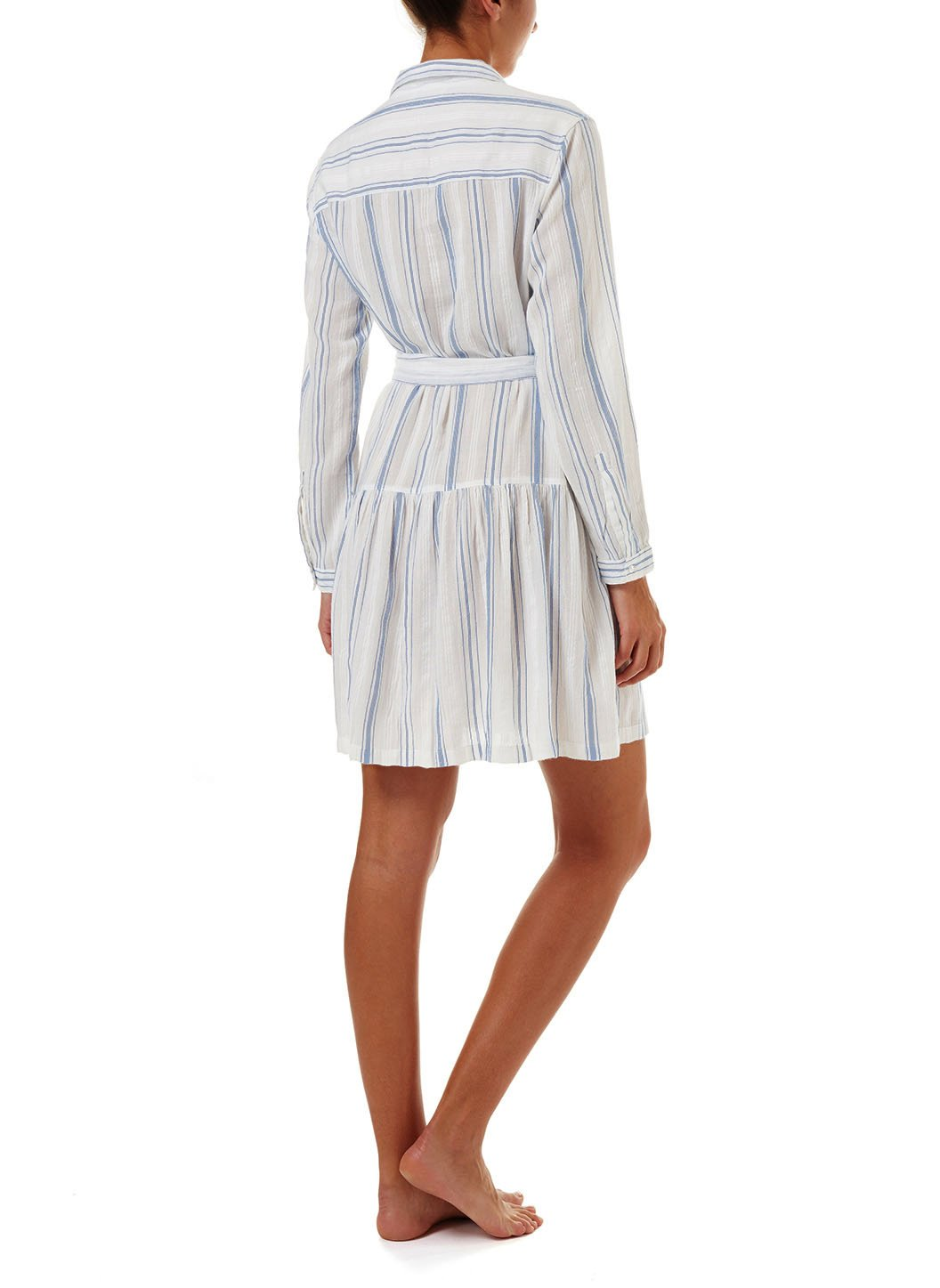 amelia blue stripe short belted shirt dress 2019 B