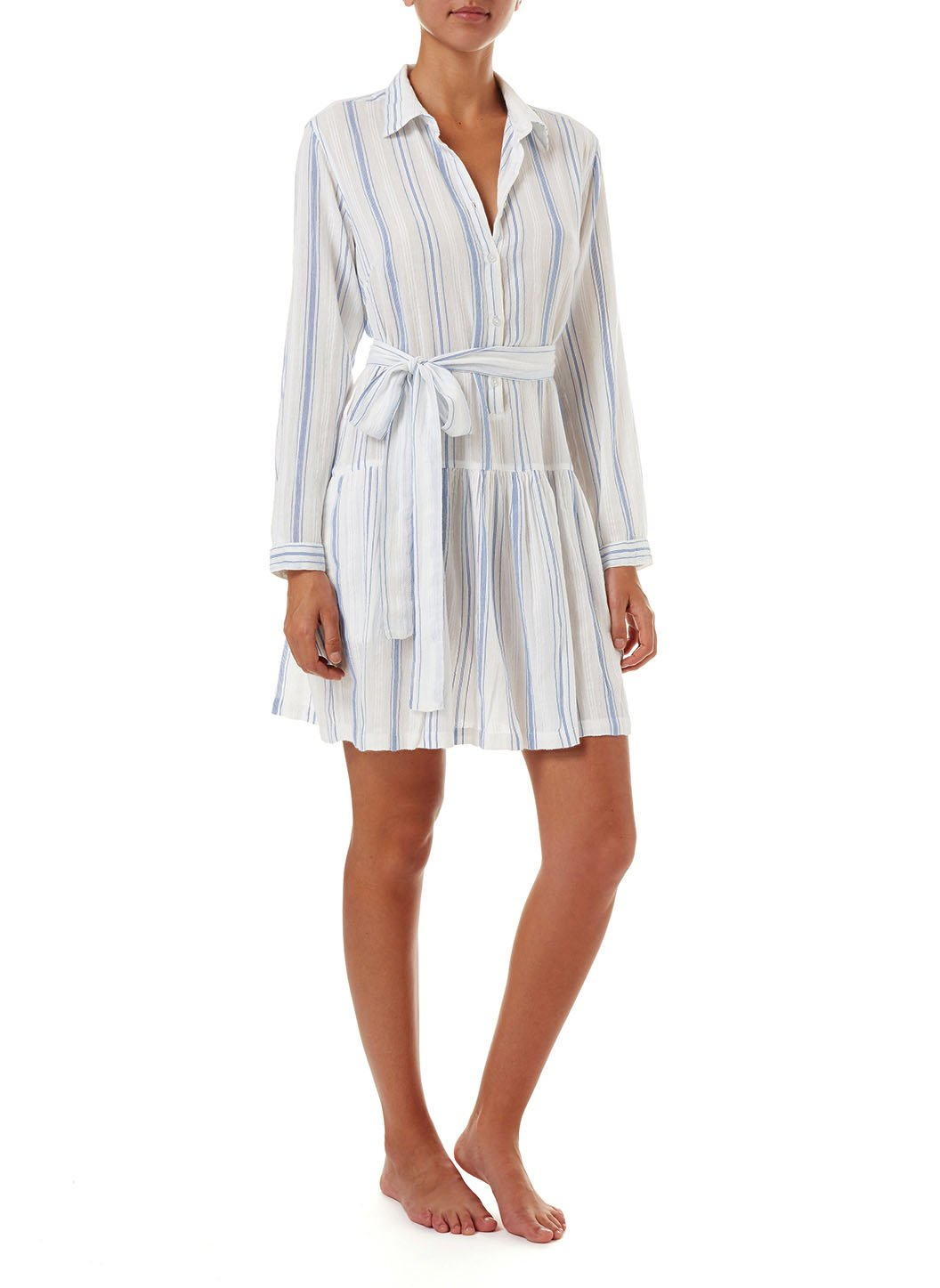 amelia blue stripe short belted shirt dress 2019 F