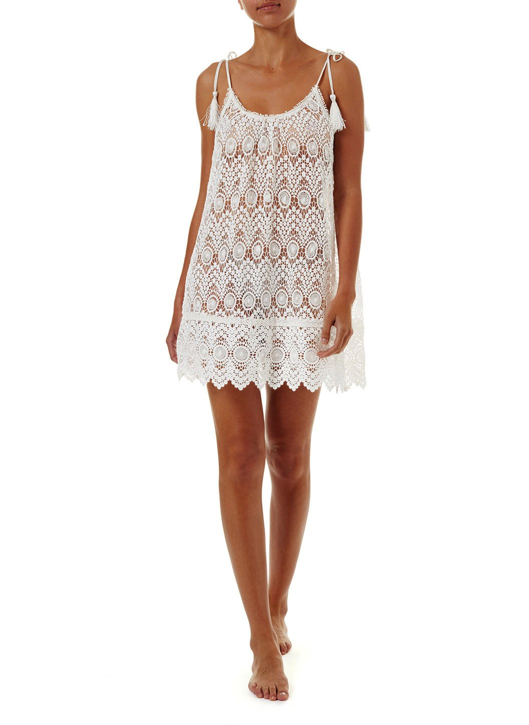 ana cream lace short tieshoulder beach dress 2019 F