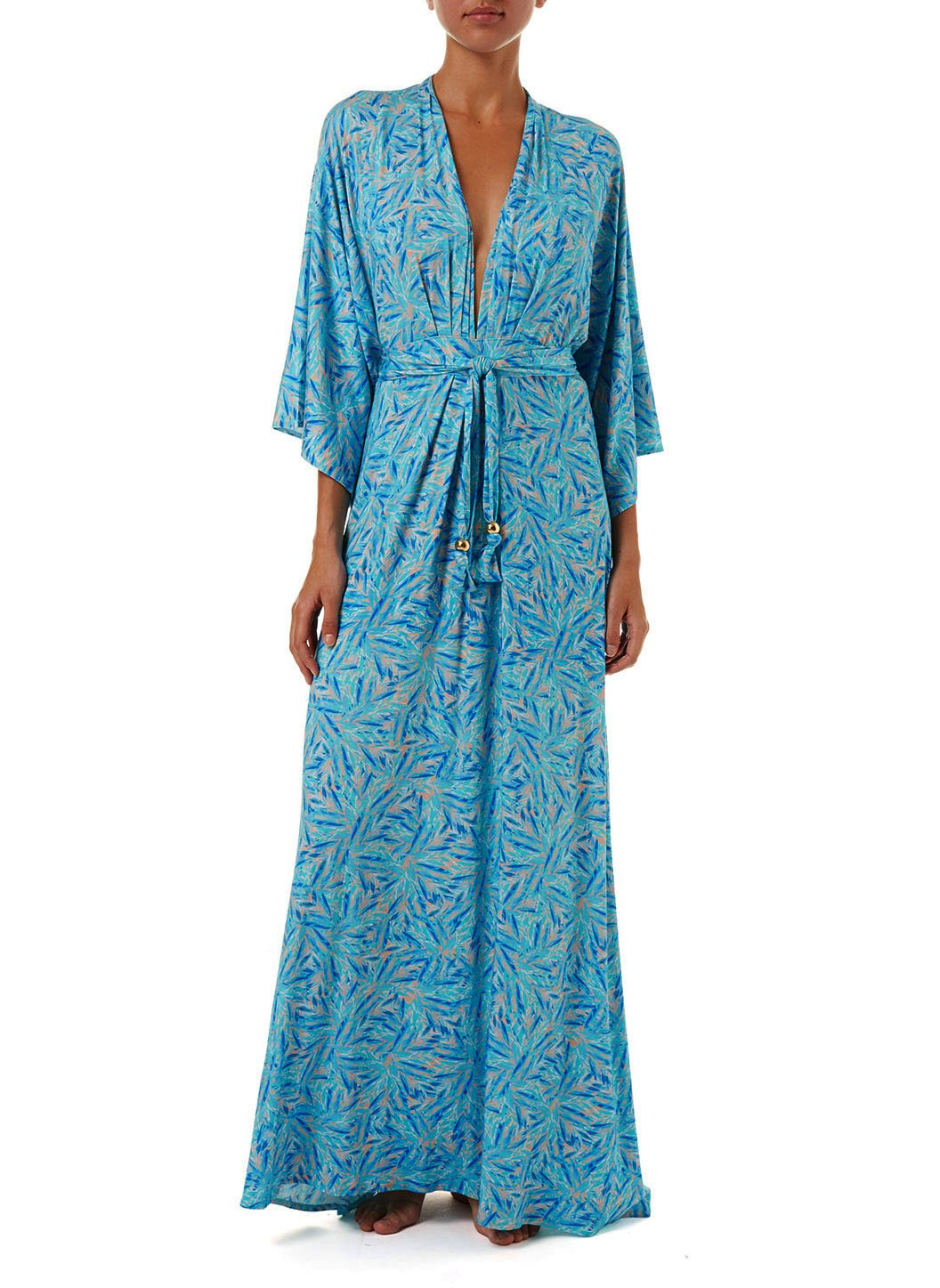 annaelle blue leaf longsleeve belted maxi dress 2019 F