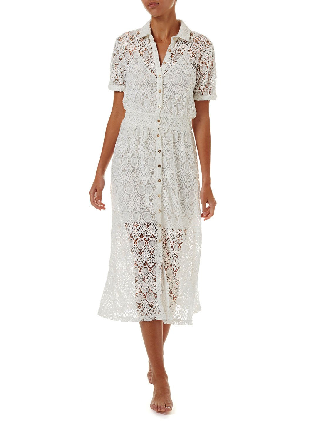 april white lace midi button down shirt dress 2019 F