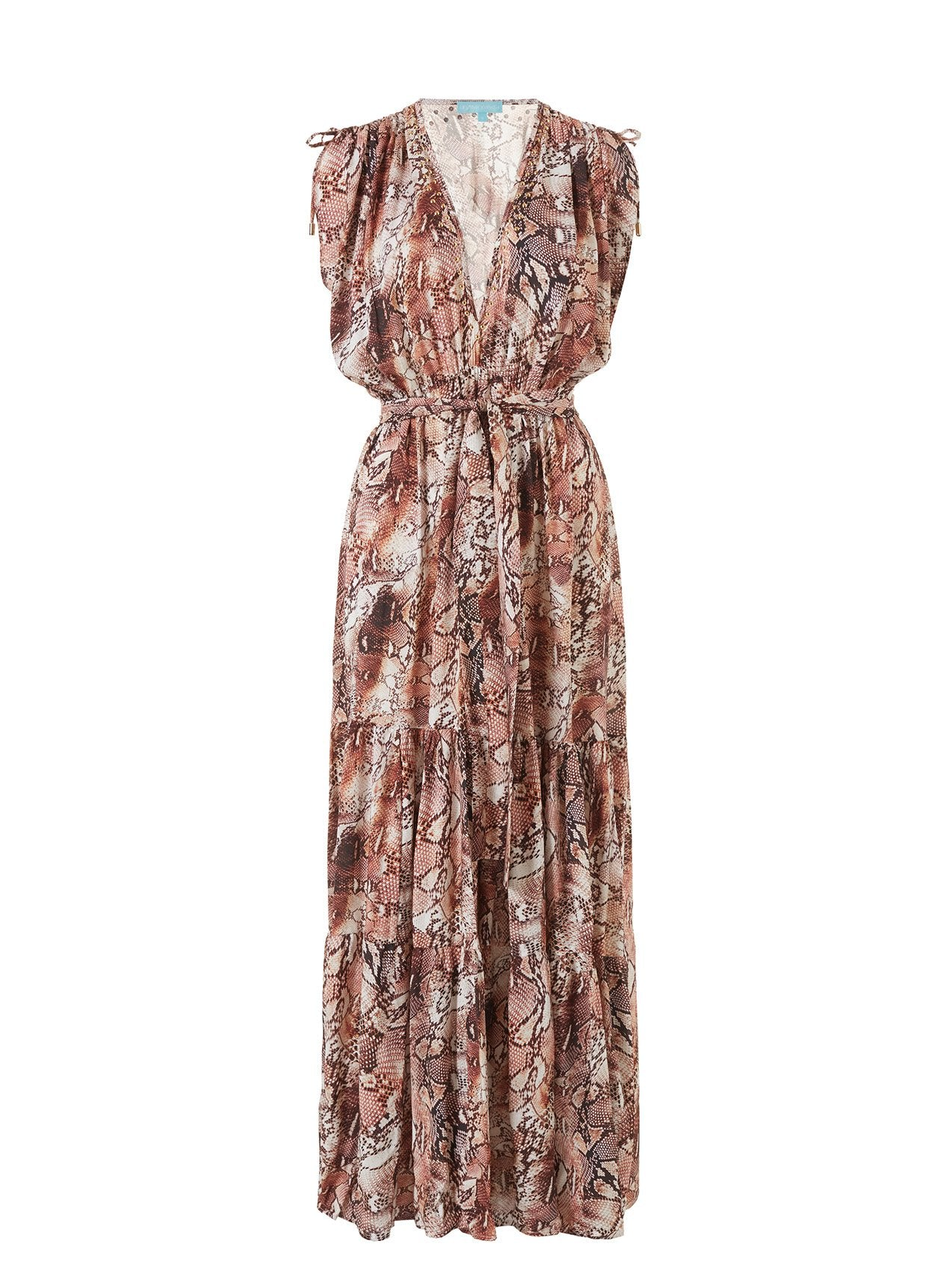 Aria Snake V-Neck Gathered Shoulder Maxi Dress 2020