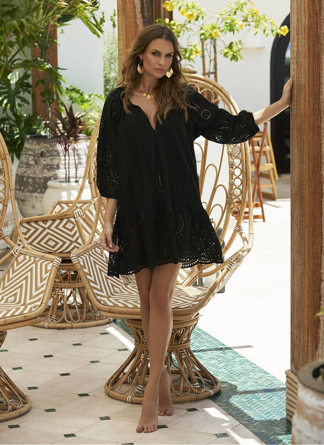 ashley black short kaftan