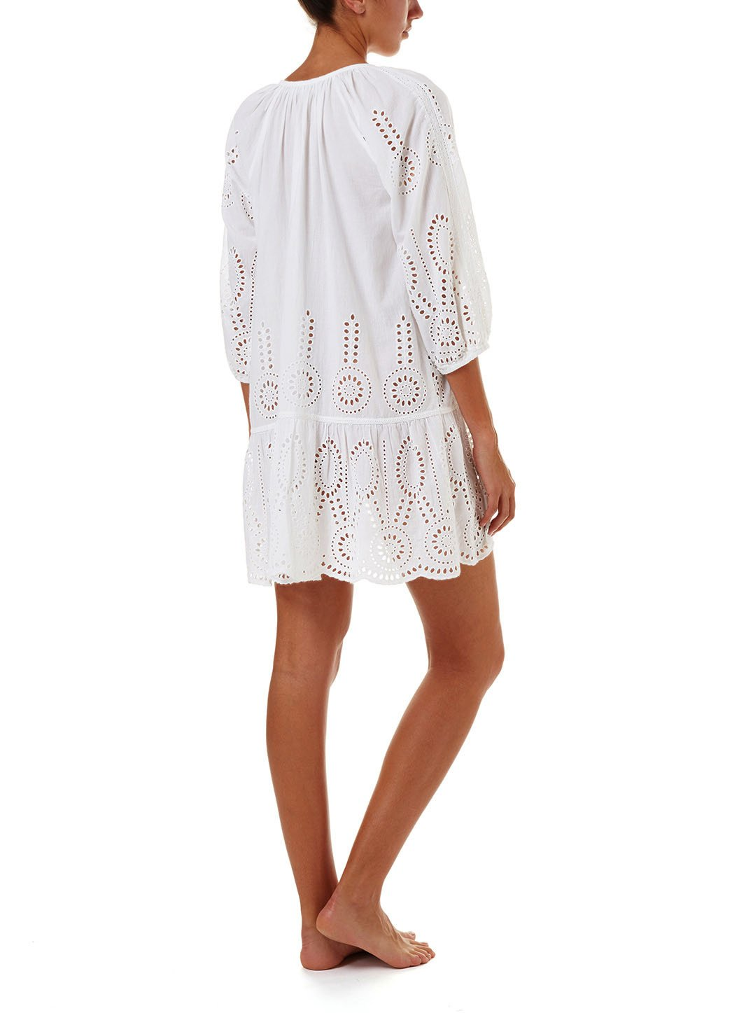 ashley white embroidered 34sleeve short coverup 2019 B