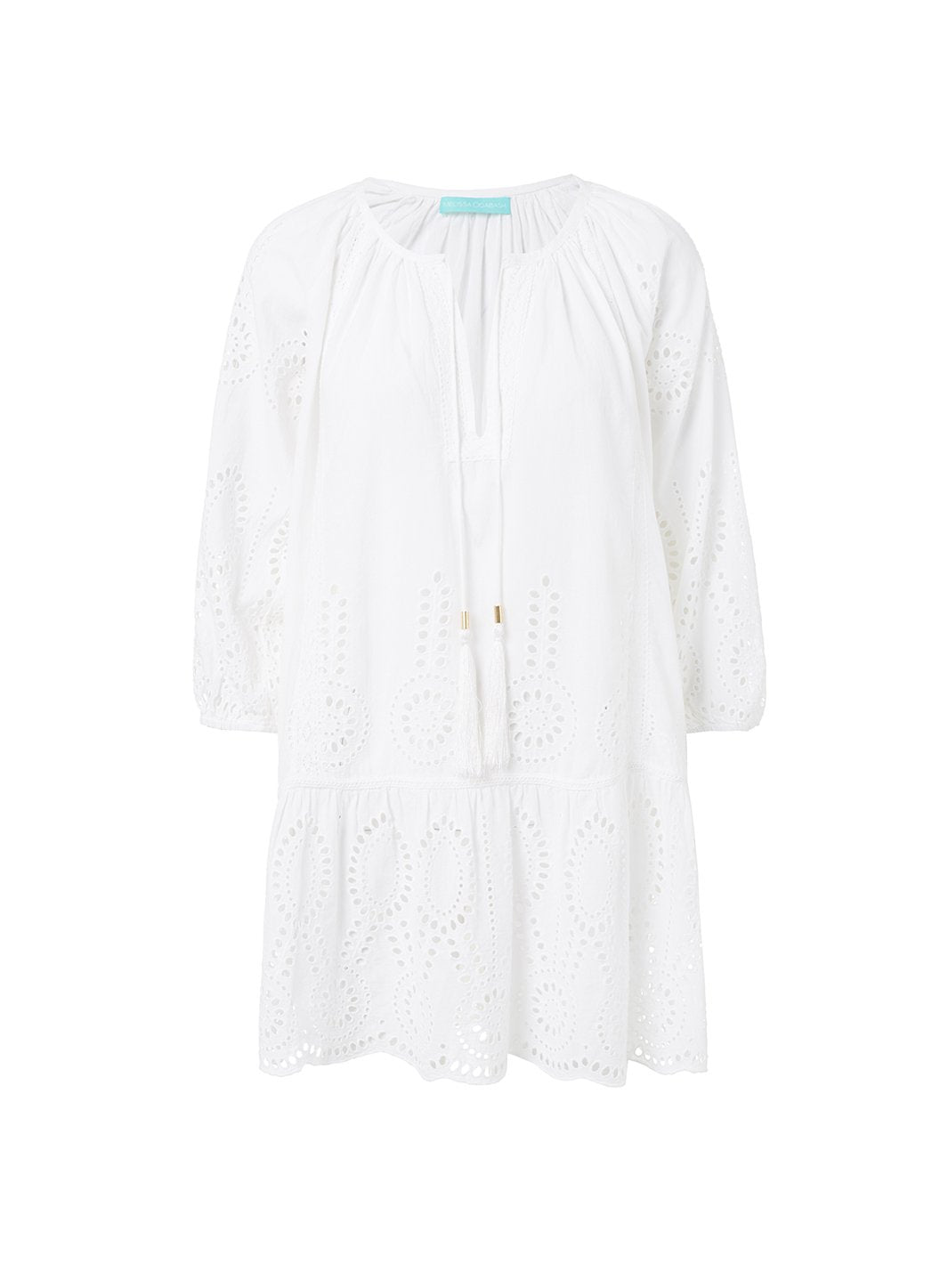 ashley white embroidered 34sleeve short coverup 2019