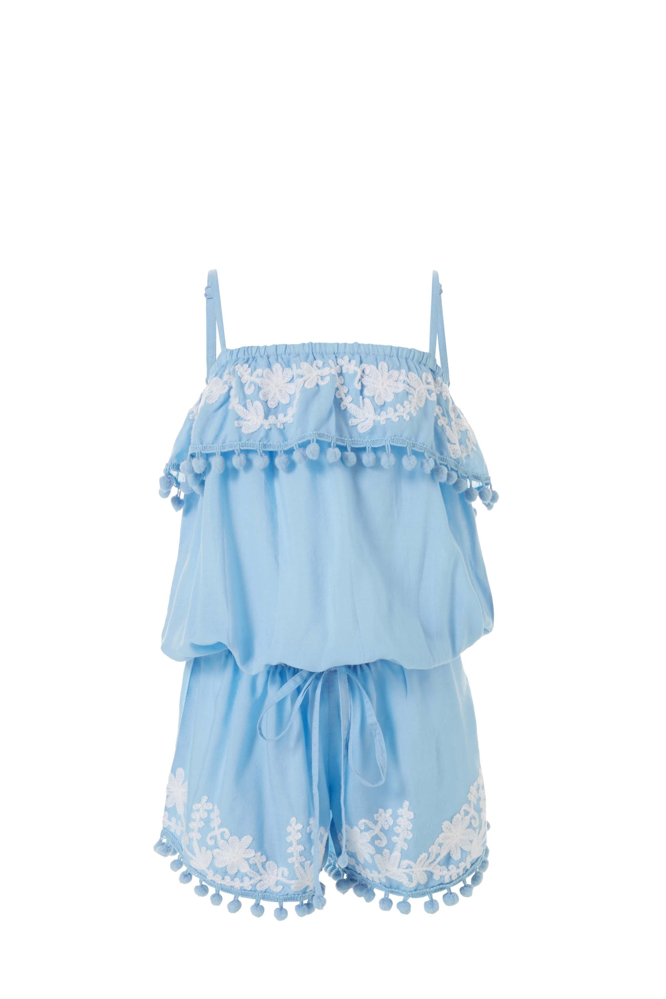 Baby Eisha Cornflower/White Embroidered Playsuit
