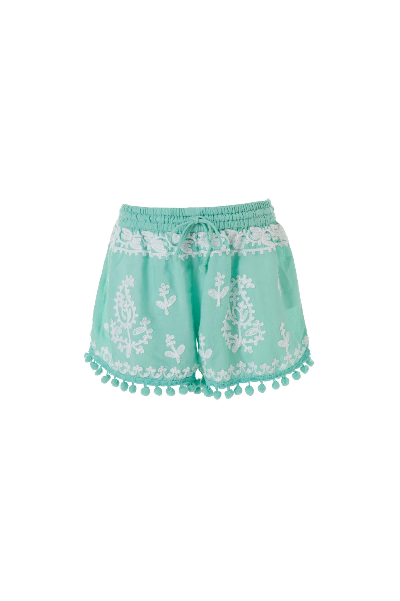 Baby Sienna Embroidered Beach Shorts Mint/White