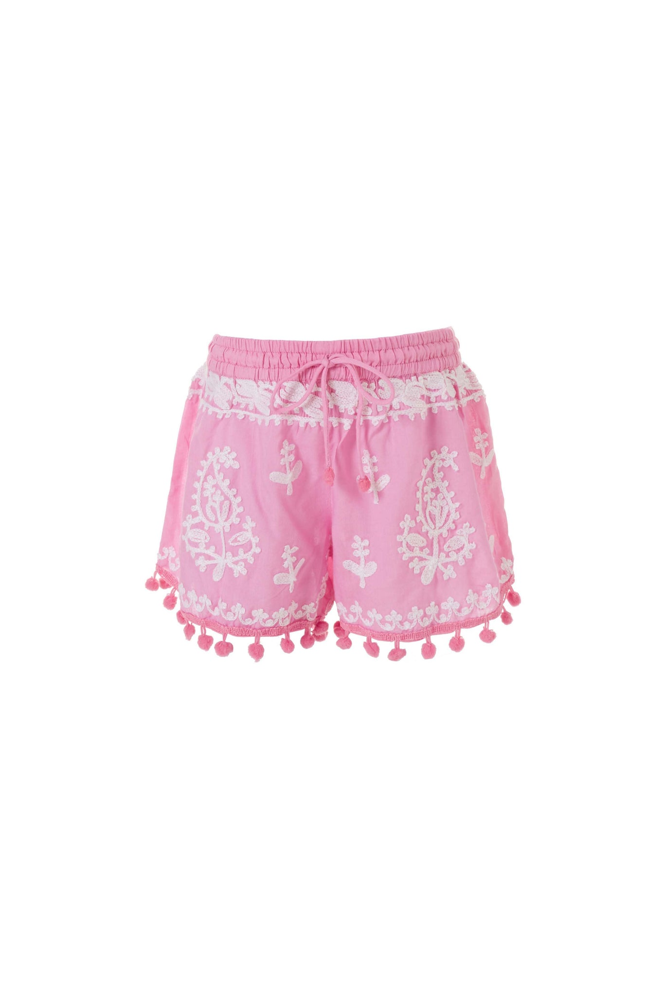 Baby Sienna Embroidered Beach Shorts Rose/White