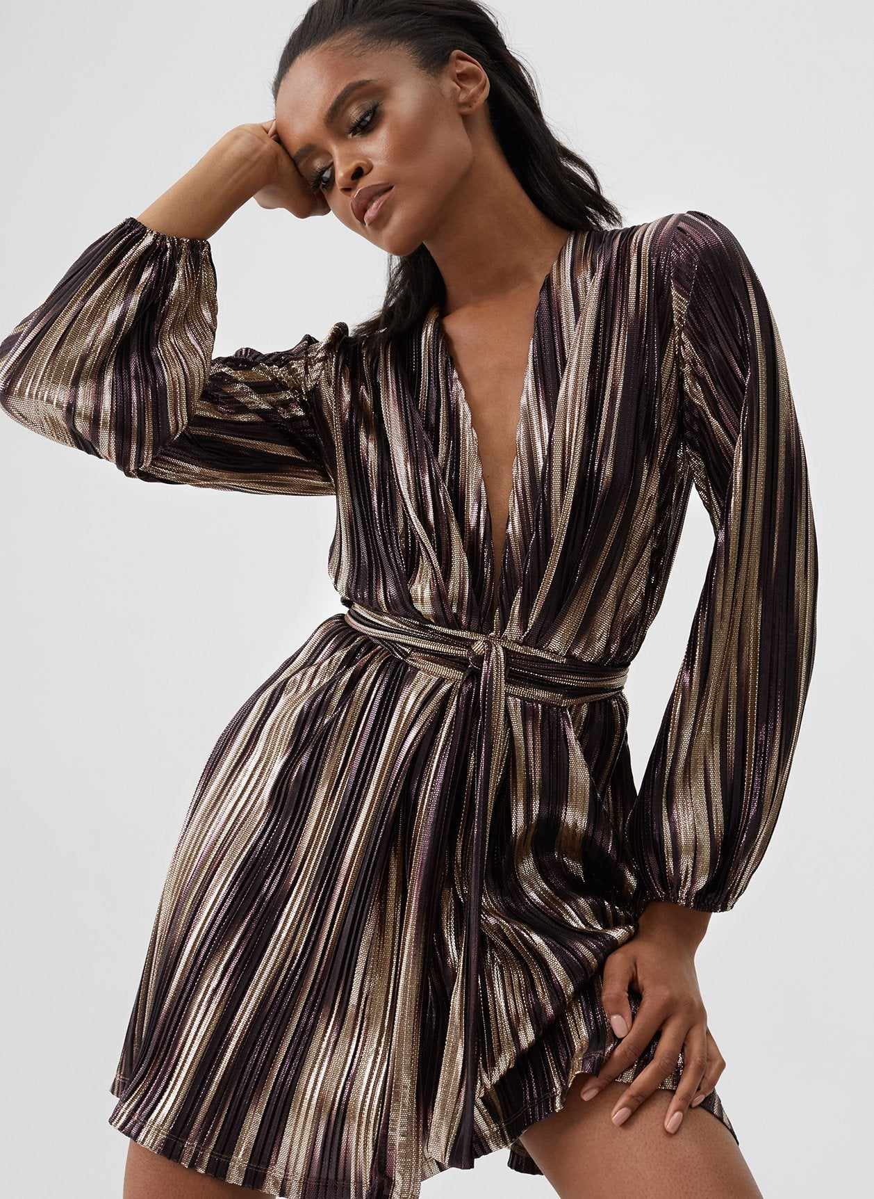 Banks Caramel Stripe Blouson Sleeve Mini Dress