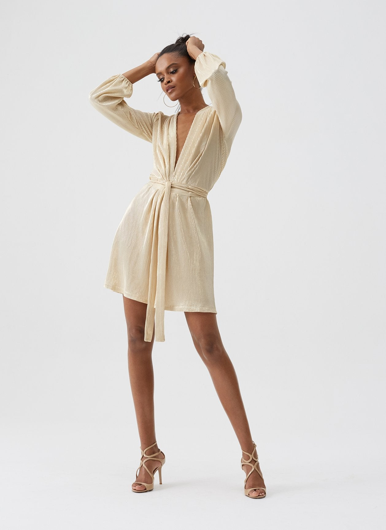 Banks Gold Blouson Sleeve Mini Dress