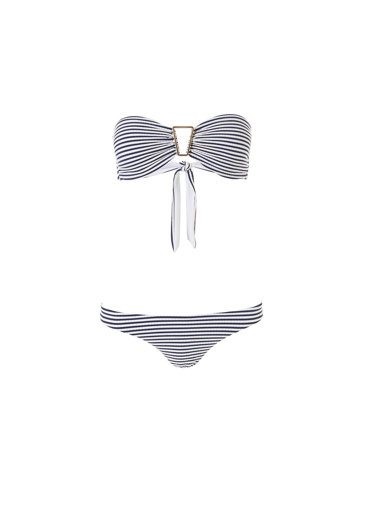 Barcelona Nautical Navy Triangle Trim Bandeau Bikini 2020