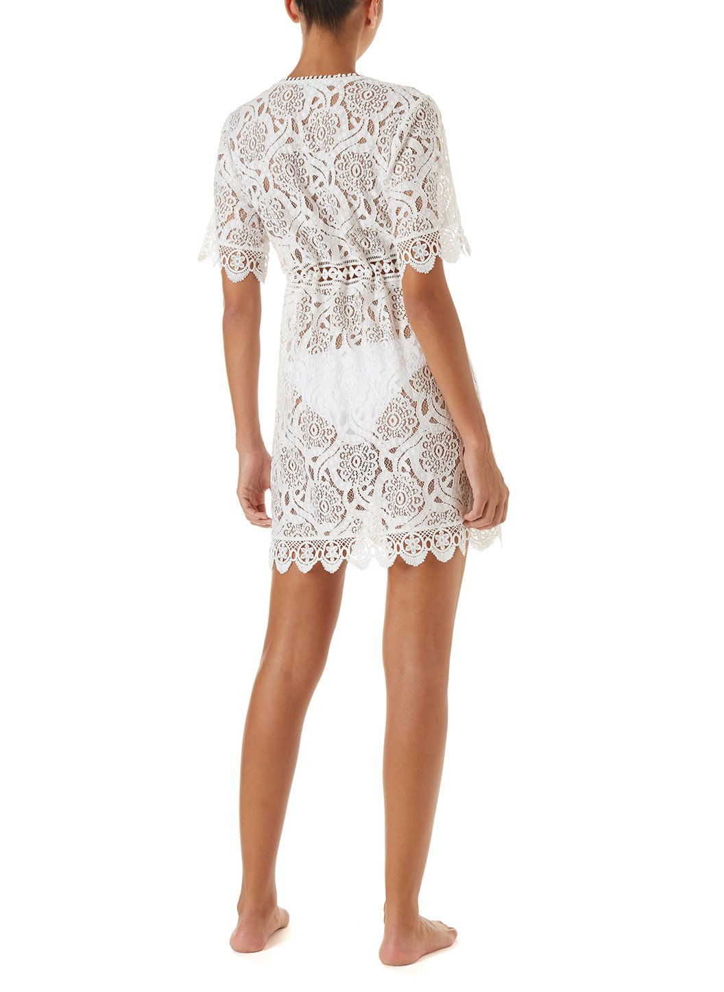 barrie white embroidered lace short button down coverup 2019 B